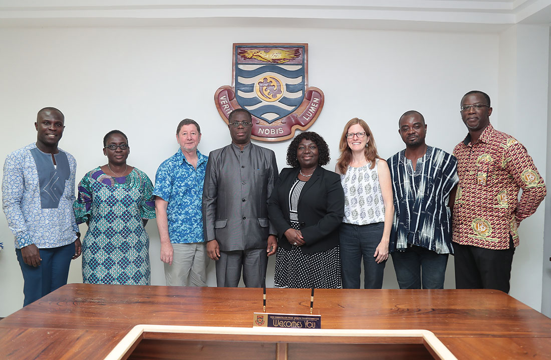 The delegation from University of Rhode Island with the Vice-Chancellor, Prof. Joseph Ghartey Ampiah